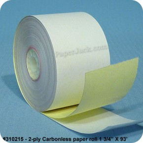 <b>#310215</b><br />1 3/4 in. x 93 ft.<br />2-Ply Carbonless Paper<br />Case of 100 rolls