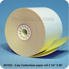 <b>#31033</b><br />2 1/4 in. x 85 ft.<br />2-Ply Carbonless Paper<br />Case of 100 rolls