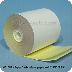 <b>#31056</b><br />2 3/4 in. x 93 ft.<br />2-Ply Carbonless Paper<br />Case of 50 rolls
