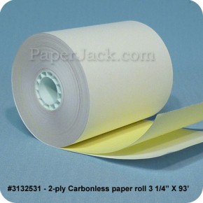 <b>#3132531</b><br />3 1/4 in. x 93 ft.<br />2-Ply Carbonless Paper<br />Case of 50 rolls