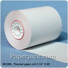 <b>#51285</b><br />2 1/4 in. x 85 ft.<br />Thermal Paper<br />Case of 100 rolls