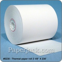 <b>#5230</b><br />3 1/8 in. x 230 ft.<br />Thermal Paper<br />Case of 50 rolls