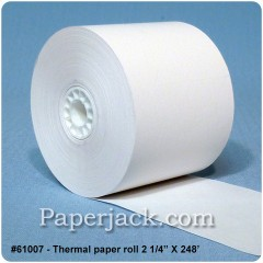 <b>#61007</b><br />2 1/4 in. x 248 ft.<br />Thermal Paper<br />Case of 50 rolls