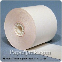 <b>#61008</b><br />2 1/4 in. x 198 ft.<br />Thermal Paper<br />Case of 100 rolls