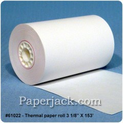 <b>#61022</b><br />3 1/8 in. x 153 ft.<br />Thermal Paper<br />Case of 50 rolls