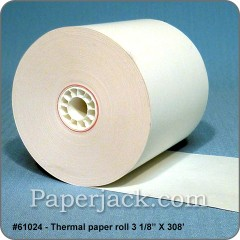 <b>#61024</b><br />3 1/8 in. x 308 ft.<br />Thermal Paper<br />Case of 50 rolls