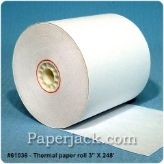 <b>#61036</b><br />3 in. x 248 ft.<br />Thermal Paper<br />Case of 50 rolls
