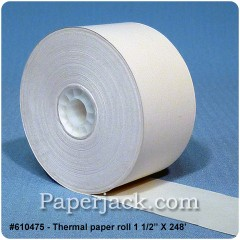 <b>#610475</b><br />1 1/2 in. x 248 ft.<br />Thermal Paper<br />Case of 50 rolls