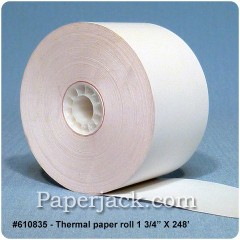 <b>#610835</b><br />1 3/4 in. x 248 ft.<br />Thermal Paper<br />Case of 50 rolls