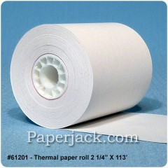 <b>#61201</b><br />2 1/4 in. x 113 ft.<br />Thermal Paper<br />Case of 24 rolls