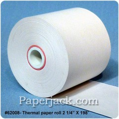 <b>#62008</b><br />2 1/4 in. x 198 ft.<br />Thermal Paper<br />Case of 100 rolls