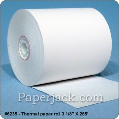 <b>#6235</b><br />3 1/8 in. x 265 ft.<br />Thermal Paper<br />Case of 50 rolls
