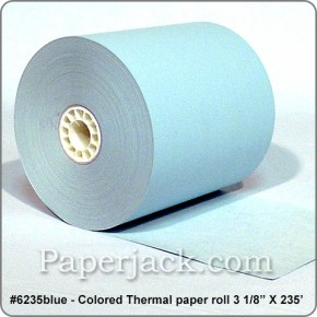 <b>#6235blue</b><br />3 1/8 in. x 235 ft.<br />BLUE Thermal Paper<br />Case of 50 rolls