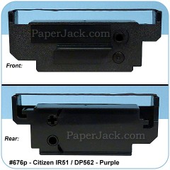 <b>#676p</b><br />Ink Cartridges<br>Citizen IR51/DP562 - Purple<br>Case of 12 Cartridges