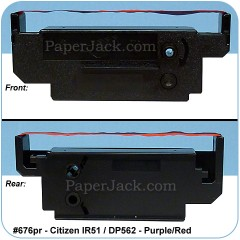 <b>#676pr</b><br />Ink Cartridges<br>Citizen IR51/DP562 - Purple/Red<br>Case of 12 Cartridges