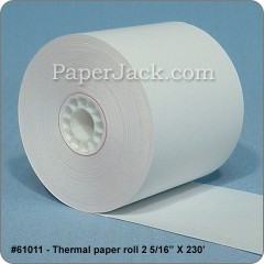 <b>#61011</b><br />2 5/16 in. x 230 ft.<br />Thermal Paper<br />Case of 27 rolls